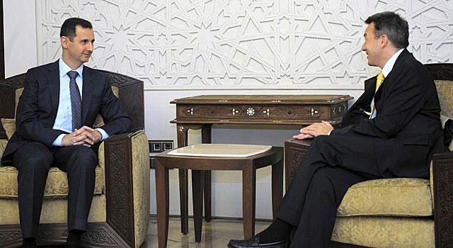 Maurer y al-Assad, hoy (EFE).